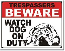 No Trespassing Beware Watch Dog On Duty Funny Humor Wall Decor Metal Tin Sign