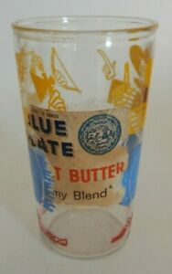 Promotional Glass Blue Plate Brand Peanut Butter Original Label Cowboy +  S
