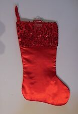 RED SATIN WITH SEQUINS LINED CHRISTMAS STOCKING MANTLE DECORATION