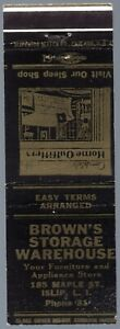 BROWN'S STORAGE WAREHOUSE ISLIP LONG  ISLAND NY 20 FS MATCHBOOK COVER PHONE 31