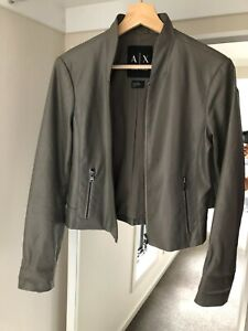 Armani Exchange Faux Leather Jacket (Grey) - Preloved | Size Small