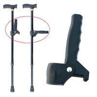 Black Plastic Old Man Walking Stick Cane Adjustable Auxiliary Handle