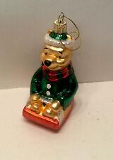 "Disney Winnie The Pooh Sledding Christmas Tree Ornament 4 1/2"""
