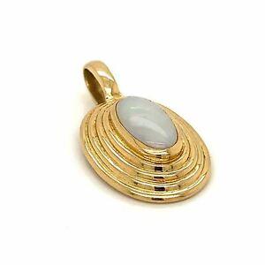 Australian White OPAL Pendant (13x7mm) Bezel Set - 9k Yellow Gold FREE POST!!