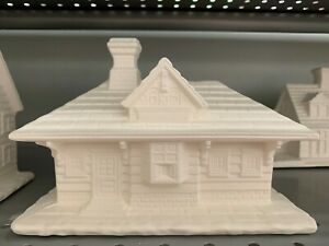 Village Train Station House Ceramic Bisque  Ready to Paint Pottery