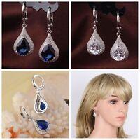 18K Gold Plated Drop Sapphire Zircon Earrings Women Wedding Dangle Jewelry Gifts