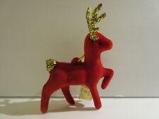 Vintage Christmas Red Flocked Reindeer Glitter New Ornament Hong Kong Ssco Rare