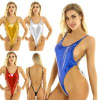 Damen Einteiler Metallic Badeanzug mit Hoher Beinausschnitt String Body Bodysuit