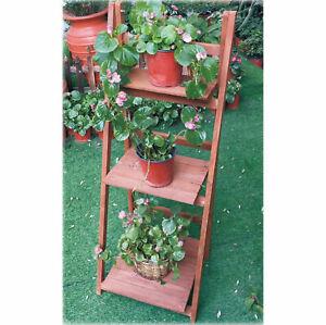 Wooden Flower Planter Ladder 3 Tier Plant Pot Stand Shelf Herb Potting Table