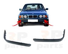 FOR BMW 5 SERIES E34 1988 - 1996 NEW FRONT BUMPER MOLDING TRIM BLACK PAIR SET