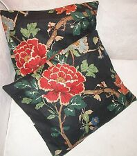 VINTAGE CUSHION COVERS(2) BLACK 100% LINEN FLORAL HAND MADE