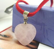 Rose Quartz Pendant Cord Faceted Pink Gemstone Heart Love Charm