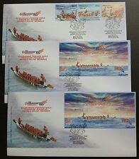 2008 Malaysia Dragon Boat 3v Stamps + MS + imperf MS on 3 FDC (Pulau Pinang)