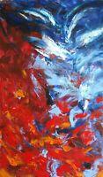 """Peinture abstraite sur papier, original signé HZEN, """"L'eau & le feu"""" 27x44 cm"""