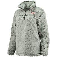 Virginia Tech Hokies Women's Gray Sherpa Super Soft Quarter Zip Pullover Jacket