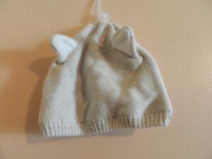 NWT baby Gap unisex bleached wood (white) beanie w/fox ears; 18-24m