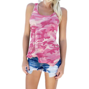Women Casual Camo Tank Tops Vest Summer Sleeveless T-Shirt Blouse Tee Plus Sizes