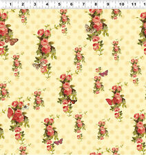 $7 Per Yard DEVOTION Flower on Cream Quilt Fabric Y1789-4 Iron Orchid Designs
