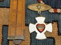 Antique Rebekah Lodge Patriarchs Chivalry Badge Pin Gilt Silver Enamel & Diamond