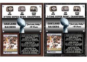 Oakland Raiders 3-Time Super Bowl Champions Photo Card Plaque
