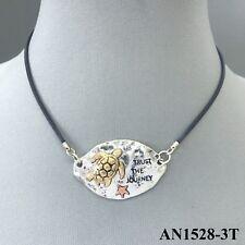 Boho Black Leather Color Cord Gold Sea Ocean Turtle Silver Oval Pendant Necklace