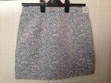 RIVER ISLAND Grey With White Floral Detail Mini Skirt UK14 EUR40 BNWT