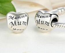 Impresionante 925 plata encanto de corazón de las Madres