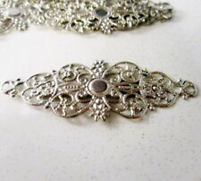 10 Filigree Flower Connectors Silver Tone, 61x24mm Connectors, Jewelry findings