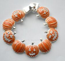 Fall Jack-o-Lantern Orange Pumpkin Bracelet / Silver-tone / Magnetic Closure