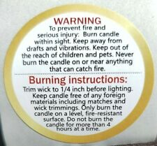 "Candle Warning Burning Instruction Labels | 1.5"" Inch Round 100"