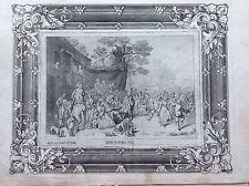 Fiera villaggio David Ryckaert  acquaforte XVIII sec A JOSEPH PRENNER AUSTRIA