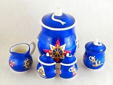 Vintage 98 Geo Z Lefton Nautical Marine Set Cookie Jar Sugar Salt Pepper Creamer
