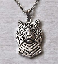 Antique Silver Plt 3D Tiger Necklace Pendant ladies Mens Animal Wildlife Gift