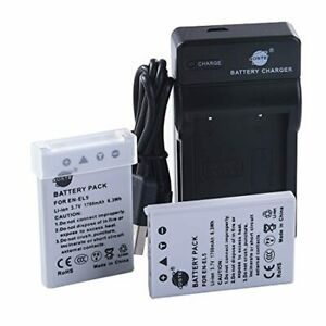 DSTE EN-EL5 Camera Battery (2-pack) and Charger Compatible with Nikon Coolpix P5