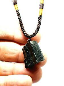 Raw Black Tourmaline Real Tibetan Gemstone Pendant Schorl Protection Necklace