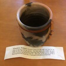 "Moen Primitive Pottery Moose Pot with Ribbon 6"""