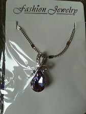 18K WHITE GOLD PLATE NECKLACE WITH SWAROVSKI CRYSTAL ELEMENTS PURPLE BRAND NEW