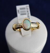 18CT SOLID YELLOW GOLD OPAL & DIAMOND RING-4.0g-SOLID OPAL=0.53ct-TDW=0.08ct