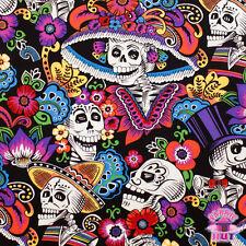 Folklorico Dia De La Catrina Black Sugar Skull Fabric by the Yard