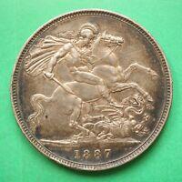 1887 Queen Victoria Silver Five Shilling Crown 5/- SNo54648