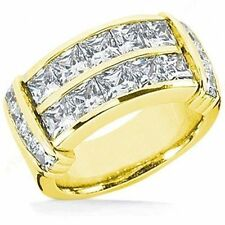 Channel Ring G color 14k Yellow Gold 3.81 ct Princess cut Diamond Band Wedding