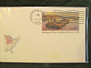 YOUNGSTOWN, OH ~ Settling Ohio Northwest Territory 1788 1988 15 cent Postcard