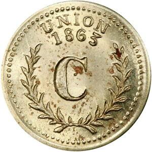 Good For One Cent Patriotic Civil War Token R7+ Rare Dies GERMAN SILVER PCGS