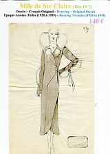 Mlle de Ste Claire Très Rare Croquis Original Encre de Chine Années Folles n°539
