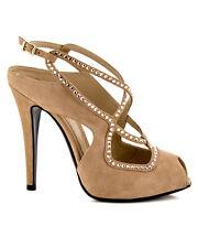 FENDI Nude Tan Suede Crystal Peeptoe Slingback Sandal Heel 36 6 US $1,195