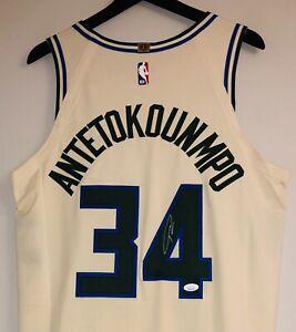"Giannis Antetokounmpo Signed NBA Bucks Cream ""City Edition"" Vaporknit Jersey JSA"