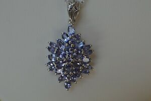 "5.00ct Tanzanite Starburst Pendant & 20"" Chain Platinum over 925 Silver ~ AAAA"