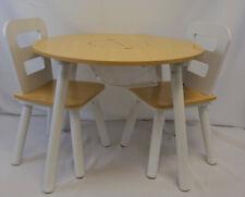 KidKraft Kindertisch mit 2 Stühlen Set Kindersitzgruppe Weiß Massivholz 27027