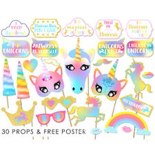 30Pcs Rainbow Unicorn Pegasus Photo Booth Prop Kit Party Camera Props Decoration