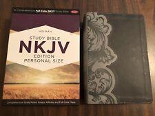 NKJV Study Bible Personal Size - $59.99 Retail - Smoke / Slate  Leathertouch